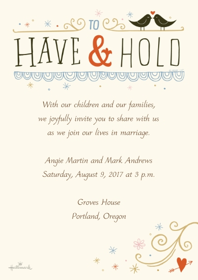 Wedding Invitations 5x7 Cards, Premium Cardstock 120lb, Card & Stationery -To Have and Hold Lettering