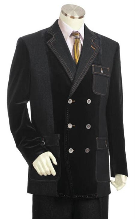 Mens Denim Cotton Fabric Blazer/Suit/Tuxedo Black With Grey
