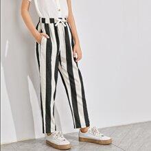 Boys Slant Pocket Striped Pants