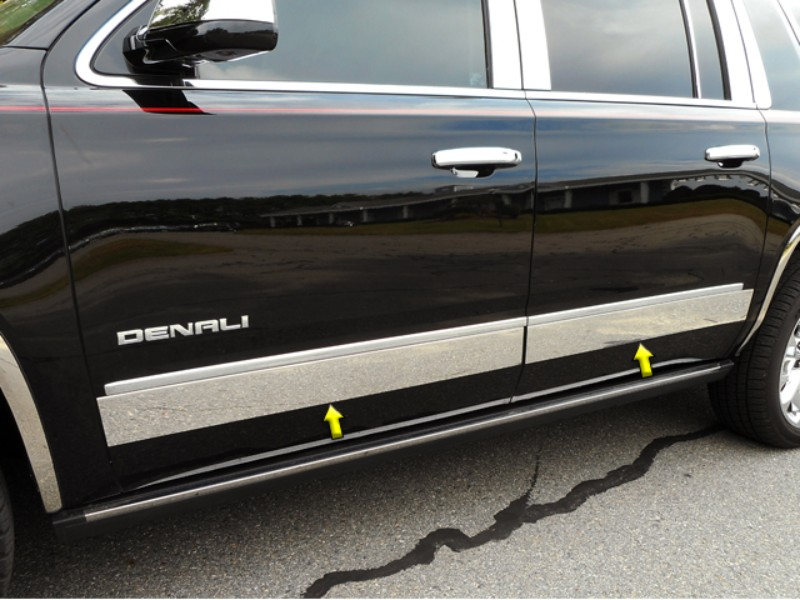 Quality Automotive Accessories Stainless Steel Rocker Panel Trim Upper Kit GMC Yukon XL 15-18
