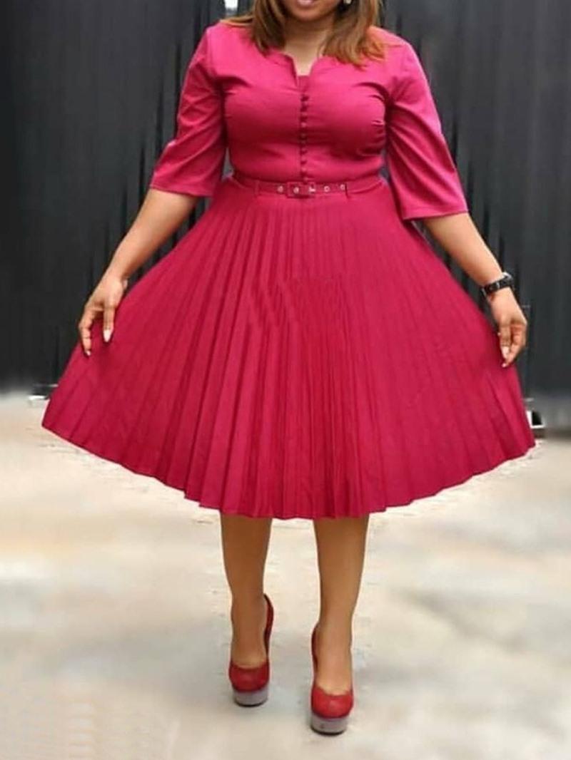 Ericdress Pleated Plain Half Sleeves Knee-Length V-Neck Mid Waist Dress