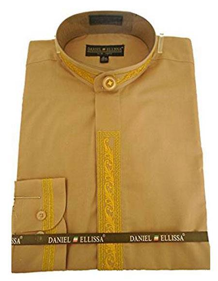 Daniel Ellissa Mens Collarless Embroide Gold Shirt