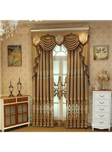 Embroidery Floral Curtain Brown Royal Drapes 2 Panels for Living Room
