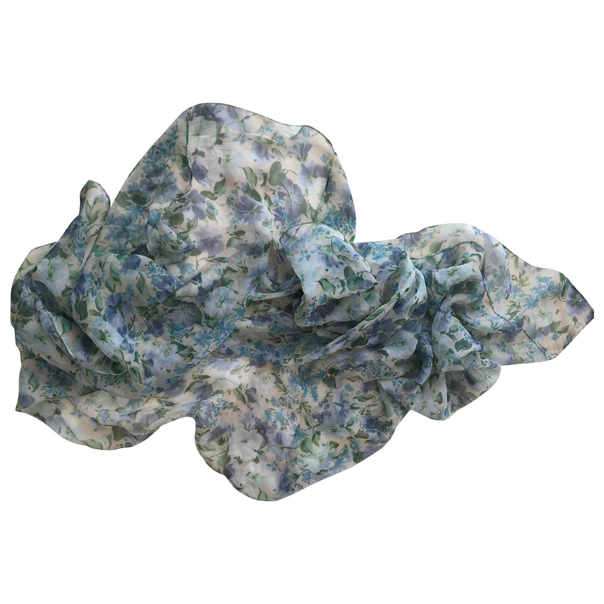 Non Signé / Unsigned \N Blue Silk scarf for Women \N