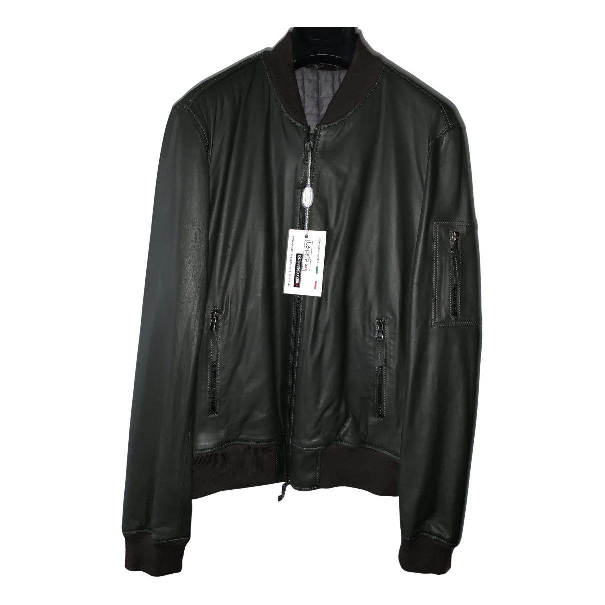 Non Signé / Unsigned N Green Leather jacket  for Men 50 IT