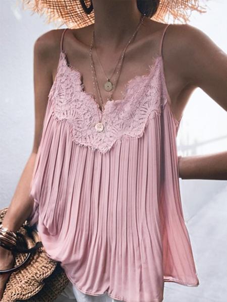 YOINS Pink Lace trim V-neck Sleeveless Cami