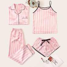 Conjunto de pijama de saten de rayas 4 piezas