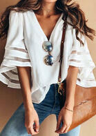 Mesh Splicing V-Neck Blouse without Necklace