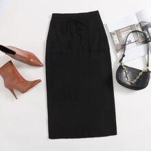 Falda tejida lateral con bolsillo de cintura con cordon