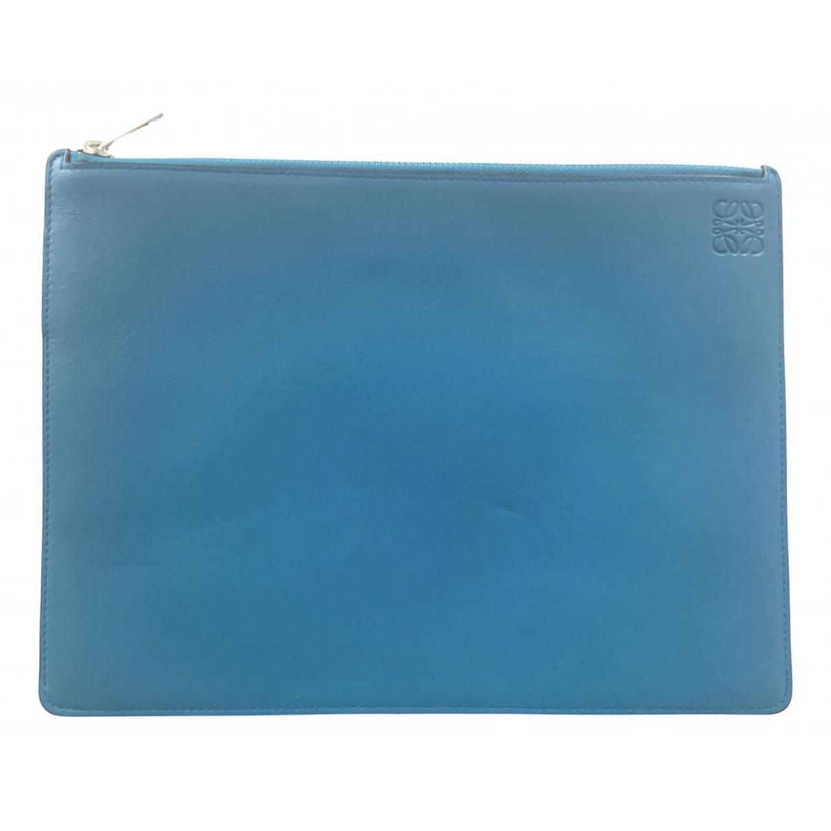Loewe \N Blue Leather Small bag, wallet & cases for Men \N