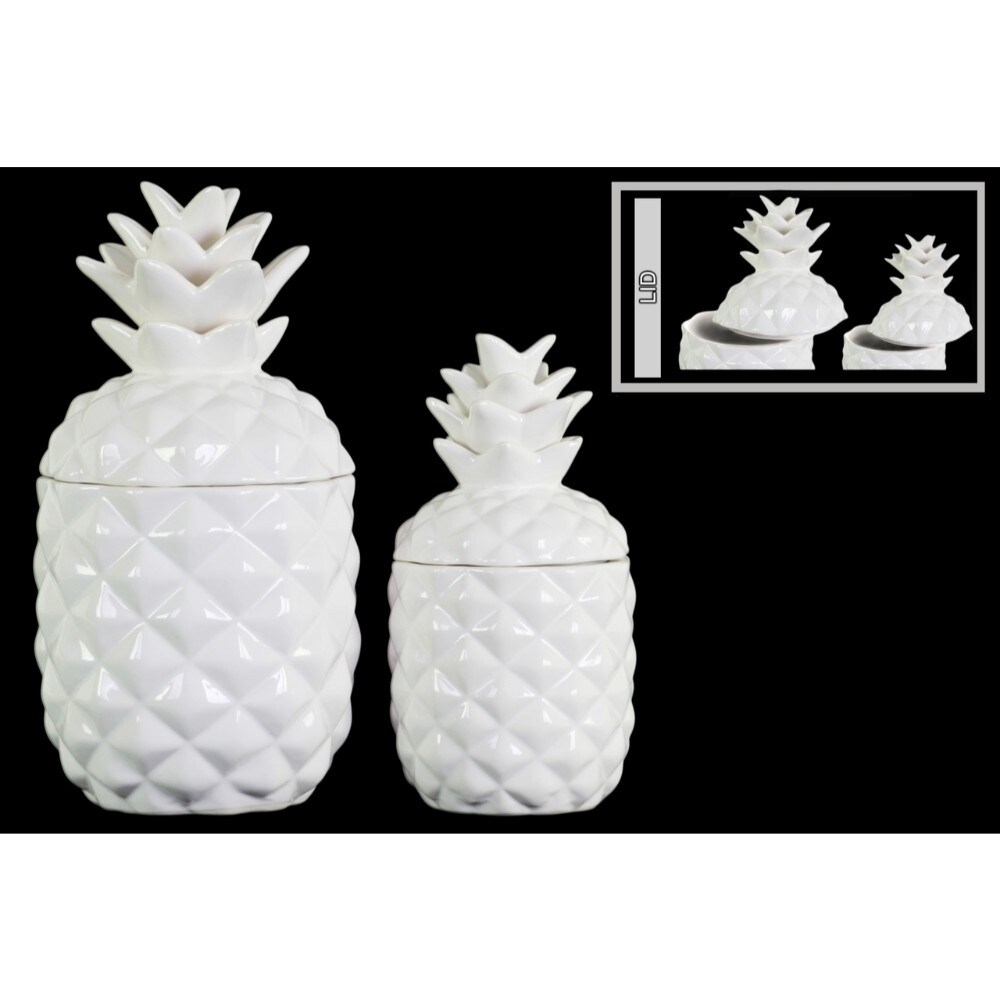 Ceramic 108 oz. Pineapple Canister with Glossy Finish, Set of Two, White