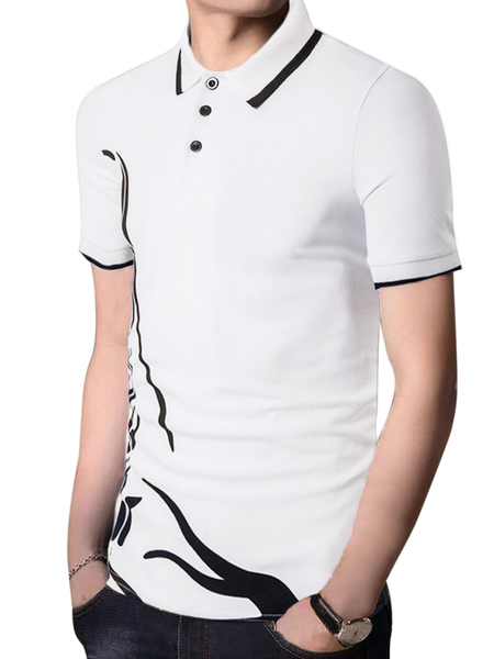 Yoins INCERUN Men Casual Graphic Printing Slim Button Short Sleeve Breathable Polos