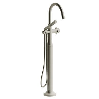 Momenti TMMRD39XBN 2-Way Thermostatic Coaxial Floor Mount Tub Filler with x Cross Handle and Hand Shower  in Brushed