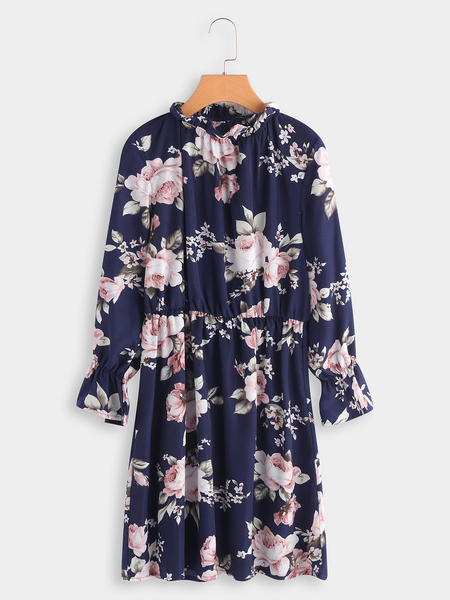 Yoins Navy Random Floral Print Crew Neck Flared Sleeves Stretch Waistband Dress