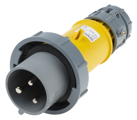 MENNEKES , PowerTOP IP67 Yellow Cable Mount 3P Industrial Power Plug, Rated At 32.0A, 110.0 V