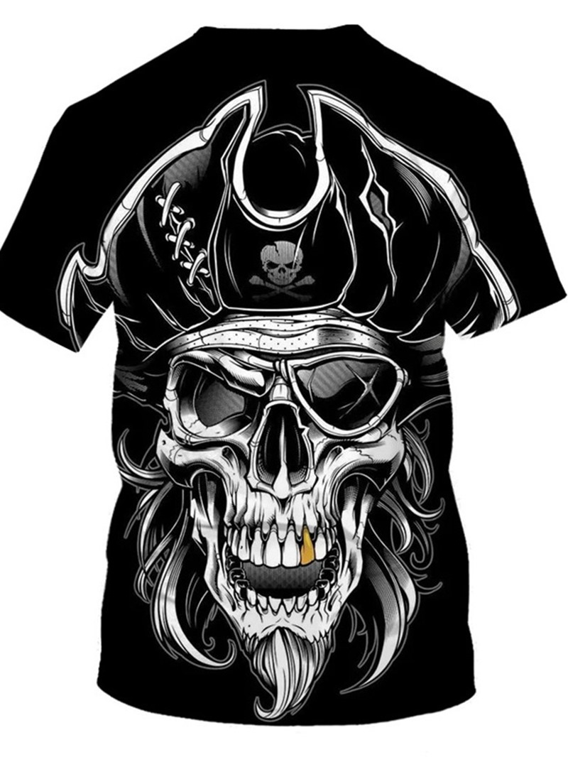 Ericdress Print Round Neck Skull Pullover Loose T-shirt