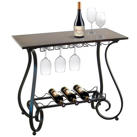 5-Bottle Metal Decorative Curved Legs Wine Storage Table With Wood Top, One Size , Brown
