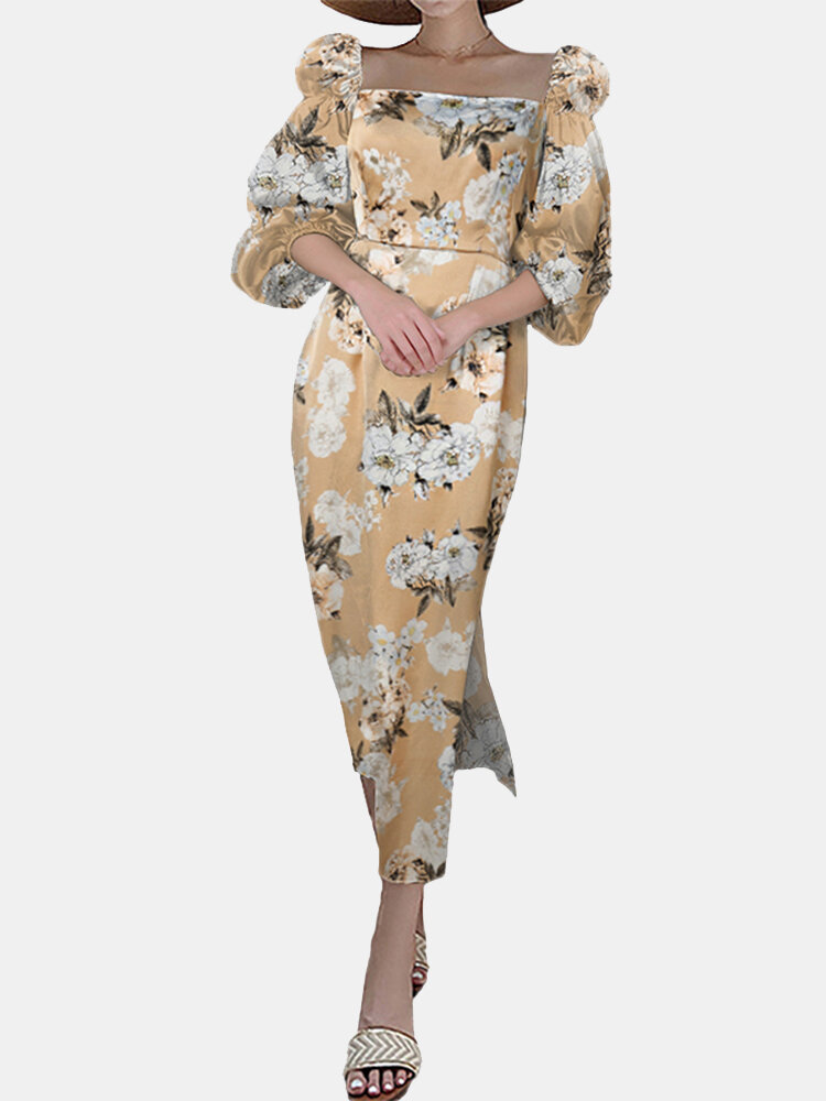 Vintage Floral Printed Square Collar Slit Hem Midi Dress