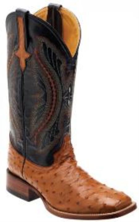 Cognac / NavyGenuine Full Quill Ostrich Boots
