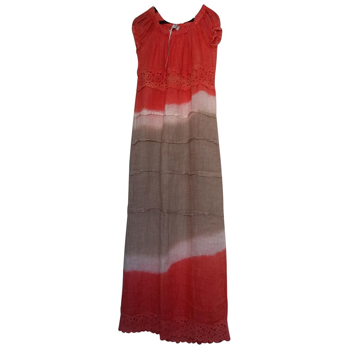 - Robe   pour femme en lin - multicolore