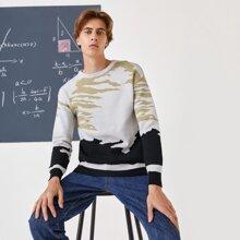 Men Graphic Print Drop Shoulder Sweater