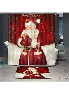 3D Father Christmas Painted Waterproof Shower Curtain for Shower Stall and Bathtub