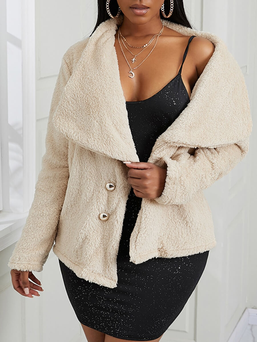 LW Lovely Casual Turndown Collar Button Design Apricot Faux Fur