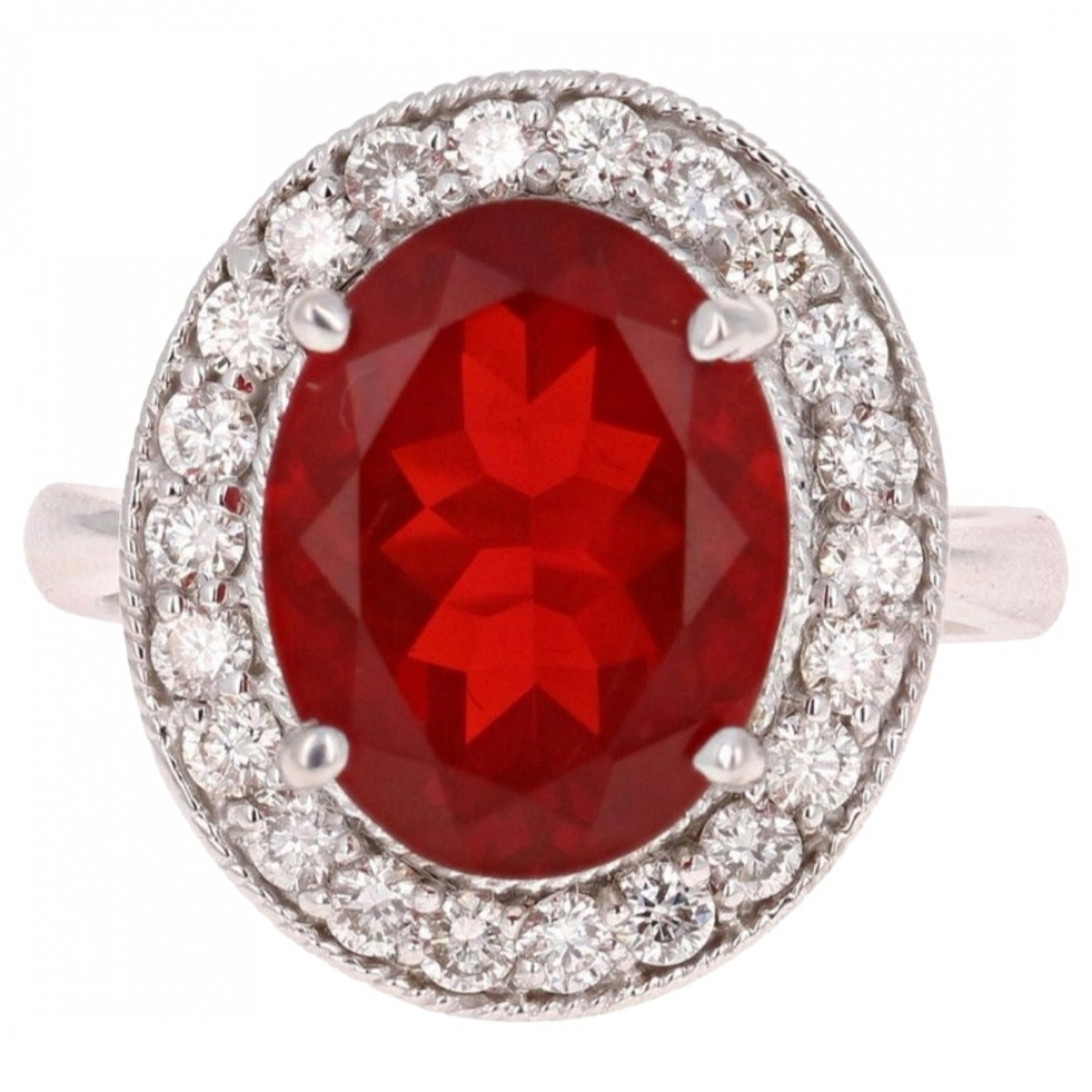 Non Signe / Unsigned Solitaire Ring in  Rot Weissgold