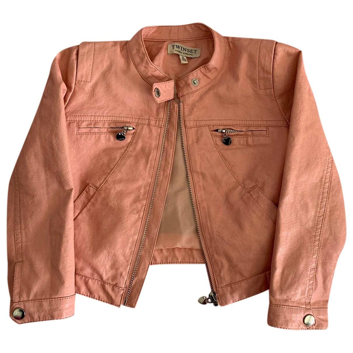 Twin Set - Blousons.Manteaux   pour enfant en cuir - rose