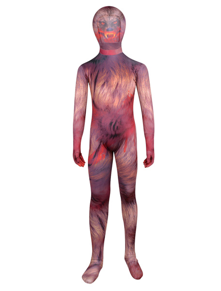 Milanoo Halloween Unisex Multi Color The Wolfman Lycra Kids'Full Body Zentai Suits Halloween