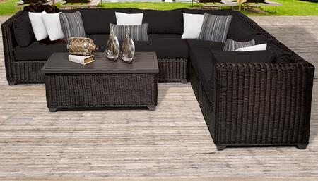 Venice Collection VENICE-07b-BLACK 7-Piece Patio Set 07b with 3 Corner Chair   3 Armless Chair   1 Coffee Table - Wheat and Black