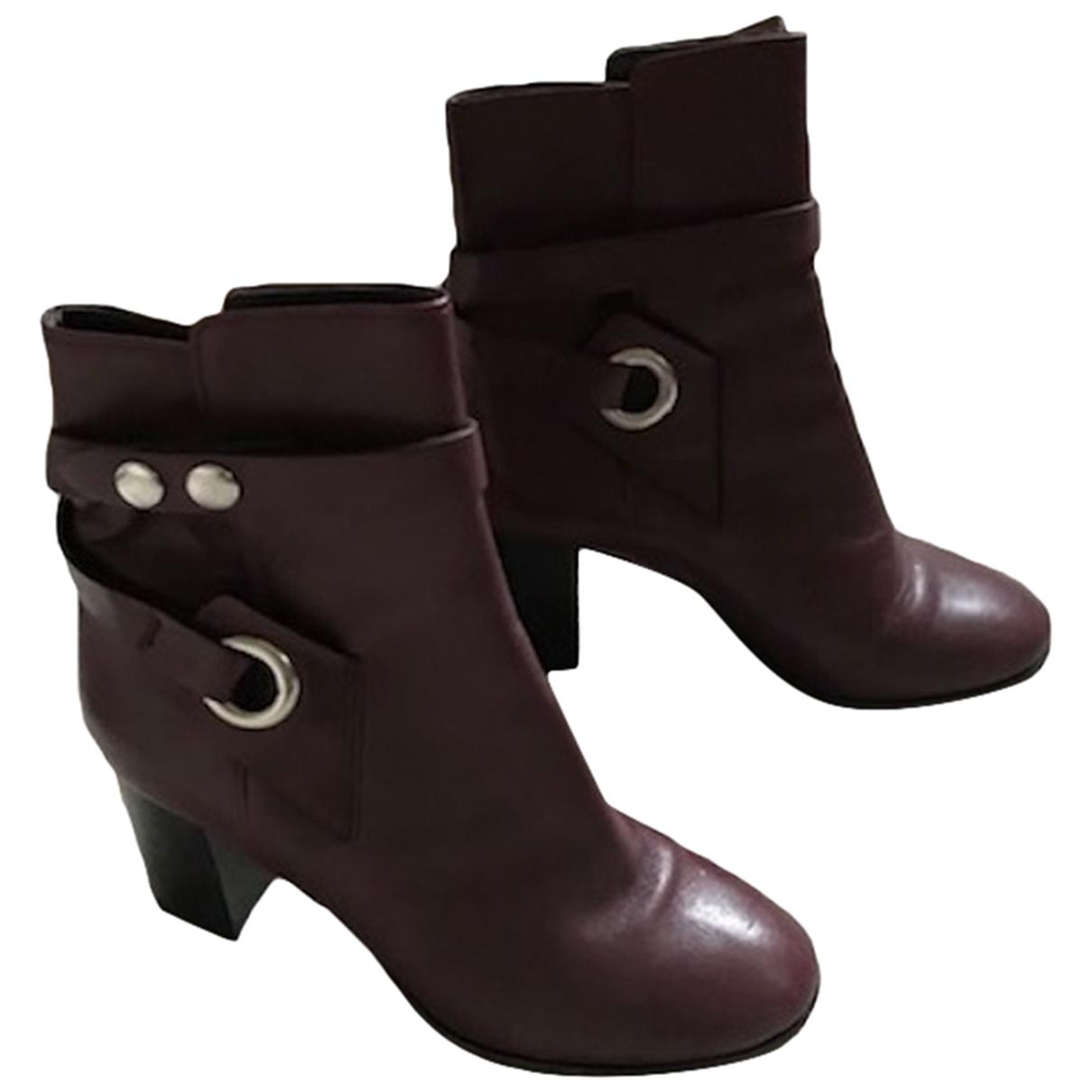 Isabel Marant Garett Burgundy Leather Ankle boots for Women 38 EU