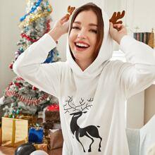 Sweatshirt mit Hirsch Muster, 3D Design und Kapuze