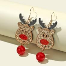 Girls Christmas Deer Drop Earrings