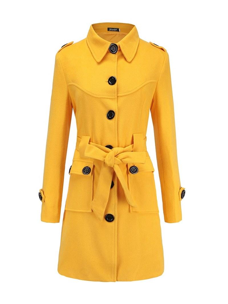 Ericcdress Lapel Button Plain Tunic Long Sleeve Coat