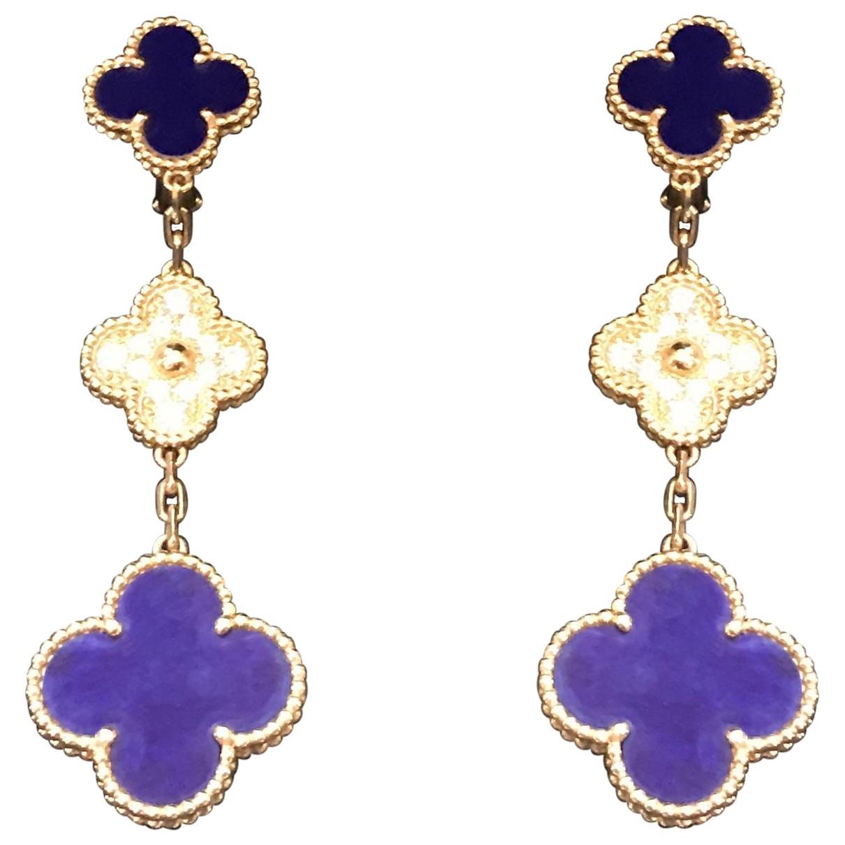 Van Cleef & Arpels - Boucles doreilles Magic Alhambra pour femme en or jaune - bleu