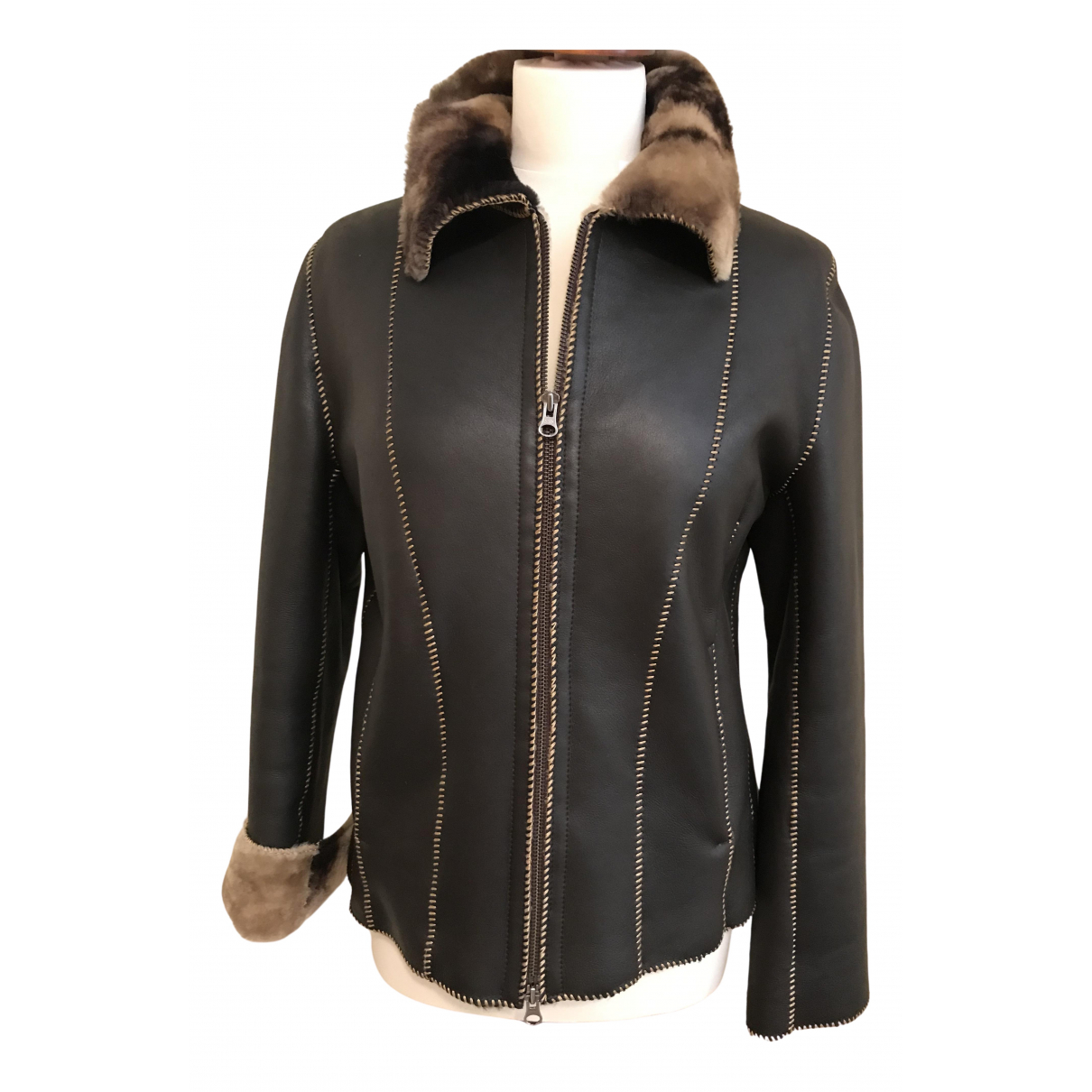 Non Signé / Unsigned \N Brown Leather jacket for Women 42 FR