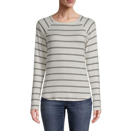 St. John's Bay-Womens Round Neck Long Sleeve T-Shirt, Petite X-small , White