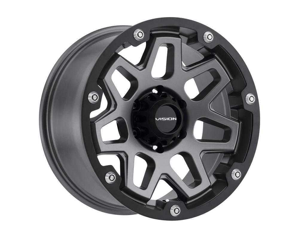 Vision Creep Satin Black w/Satin Black Ring Wheel 17x9 5x139.7 12
