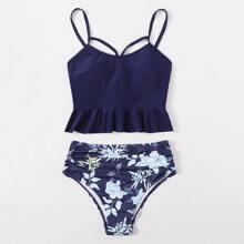 Floral Ruffle Hem Ruched Bikini Swimsuit