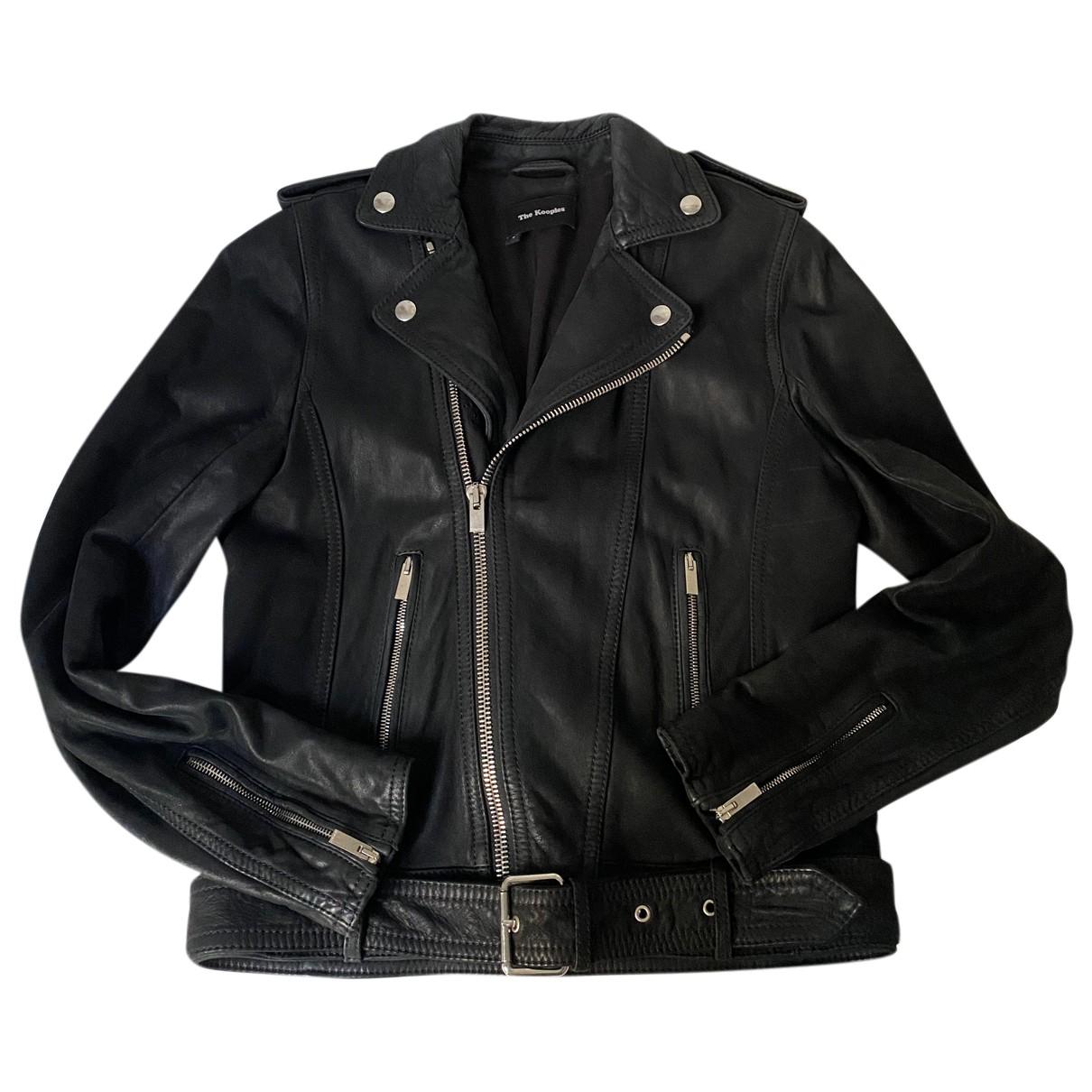 The Kooples - Blouson   pour femme en cuir - noir