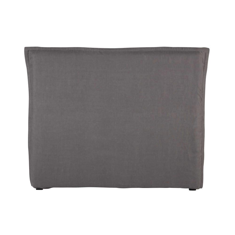Bett-Kopfteilbezug 140cm aus grobem Leinen grau Morphee
