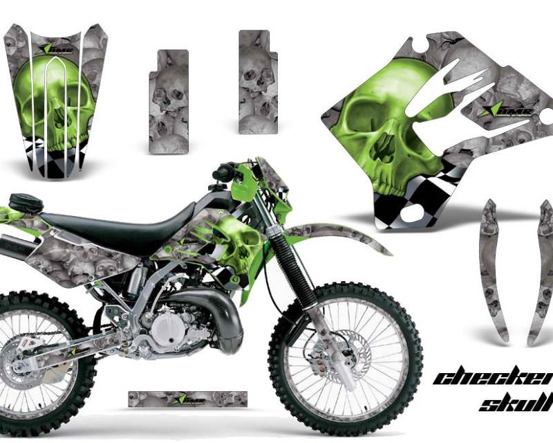 AMR Racing Graphics MX-NP-KAW-KDX200-95-06-CS G Kit Decal Sticker Wrap + # Plates For Kawasaki KDX200 1995-2006 CHECKERED GREEN