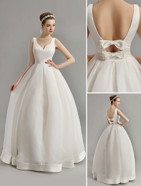 Milanoo Vintage Inspired Plunge V Neck Wedding Gown with Bow Embellished Cut Out Back