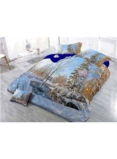 Snow-covered Forest Scenery Wear-resistant Breathable High Quality 60s Cotton 4-Piece 3D Bedding Sets