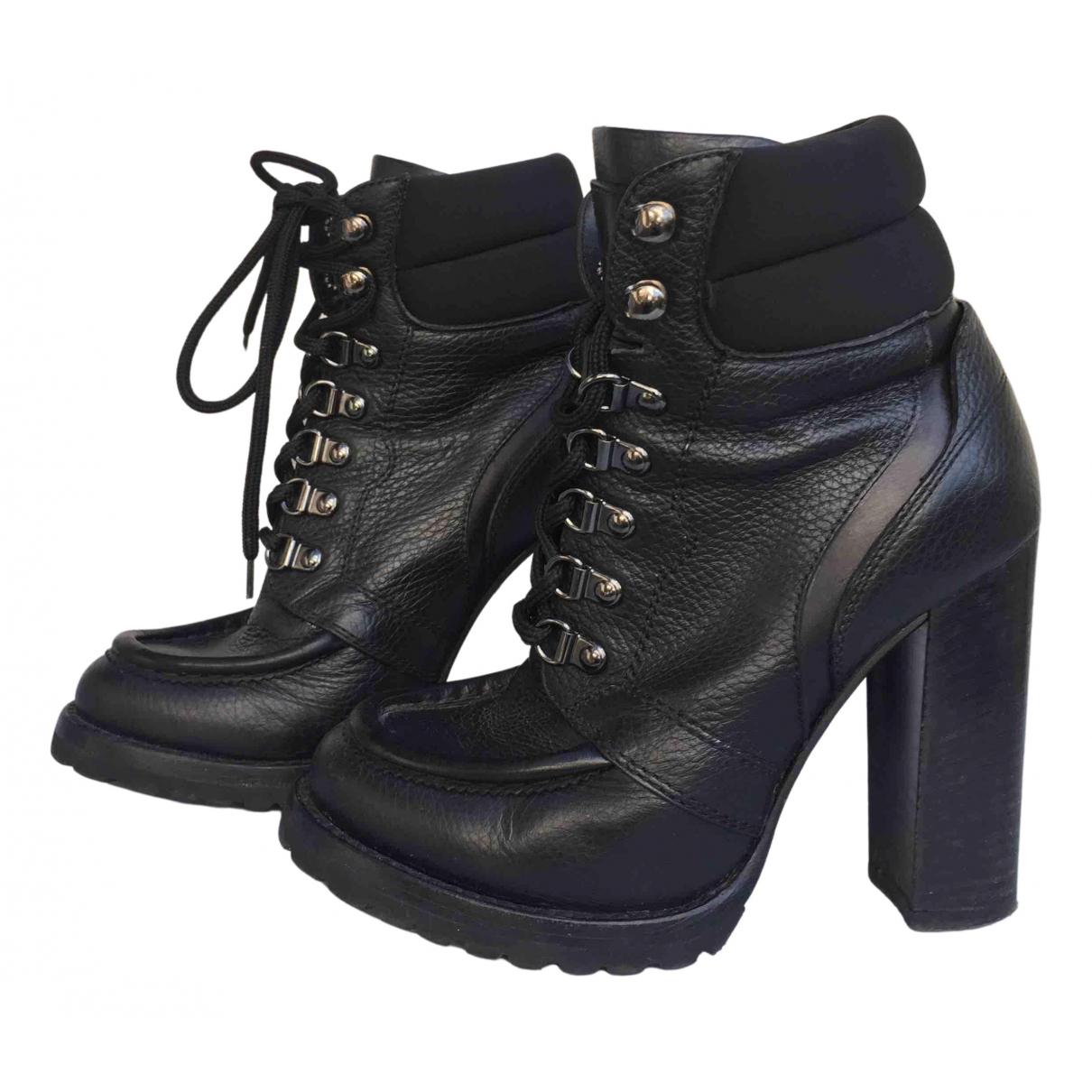 Ermanno Scervino N Black Leather Boots for Women 37 EU