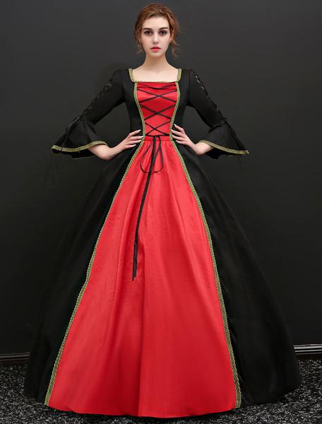 Milanoo Victorian Dress Costume Women's Baroque Black Half Sleeves Ball Gown Vintage Retro Dress Halloween