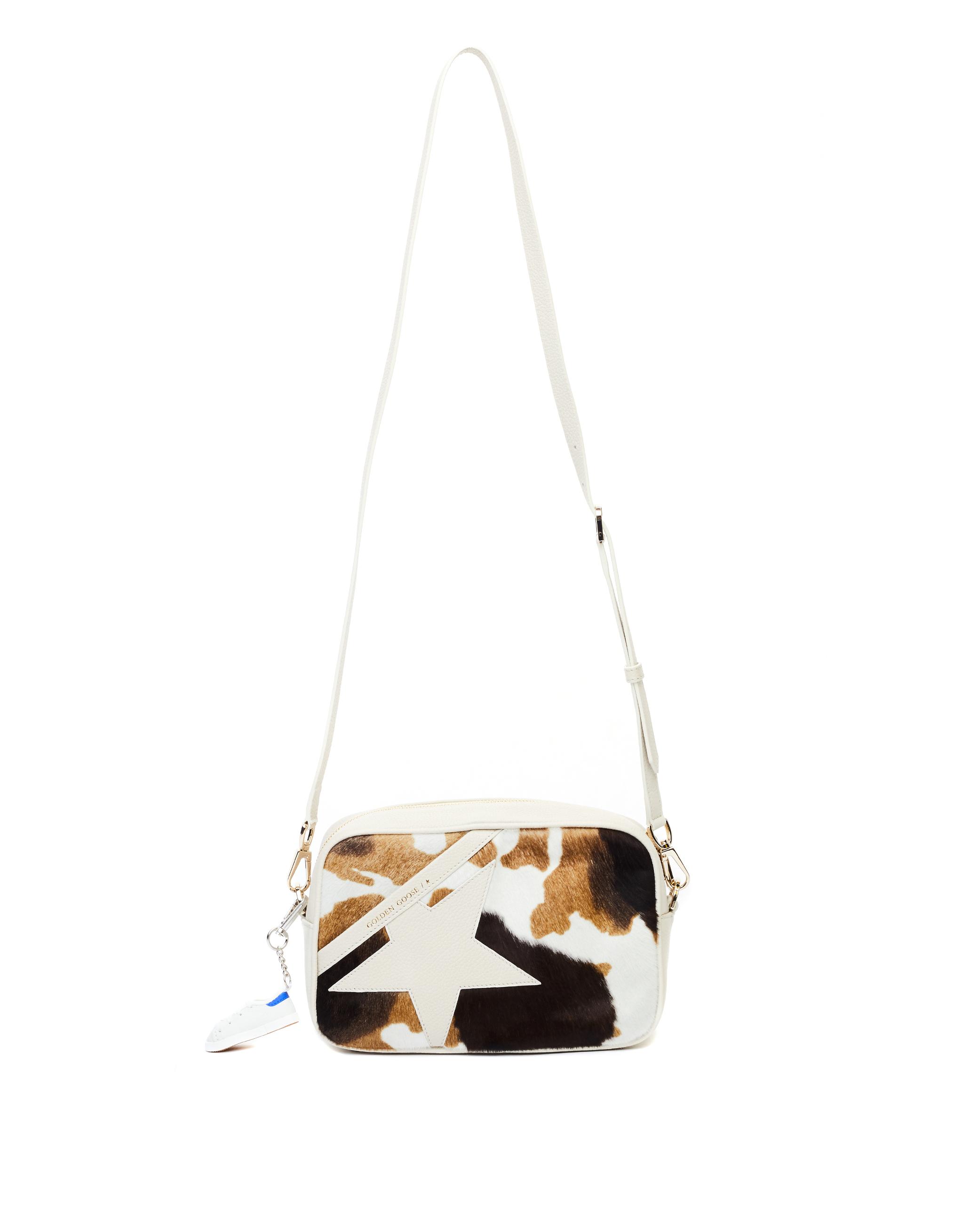Golden Goose Cow Printed Pony Fur Star Bag