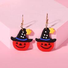 Pendientes de niñas con calabaza de Halloween