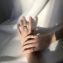 7 piezas anillo con diamante de imitacion
